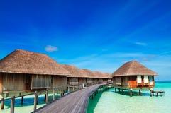 Maldivian water bungalows Royalty Free Stock Image