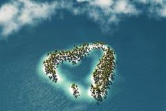 Maldivisk ö i formen av hjärta royaltyfri illustrationer