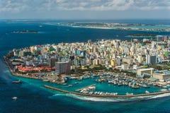 Maldivisk huvudstad från över Arkivbild