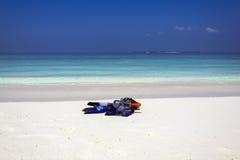 Maldivisk strandplats Fotografering för Bildbyråer