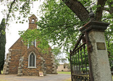 Maldon's heritage-listed Holy Trinity Anglican Church (1861) is a Gothic Revival structure of local schist and grey granite Royalty Free Stock Photography
