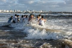 Parishioners of the Umbandist church worship Orisha Yemanja Iemanja on the Playa Mansa beach in Punta del Este stock photo