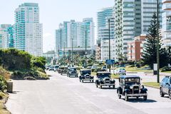 Parade of vintage cars, Punta del Este, Uruguay Royalty Free Stock Images