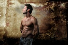 Male. Naked torso of young muscular man on a crack background Royalty Free Stock Image