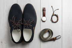 Male accessories overhead view Royalty Free Stock Images