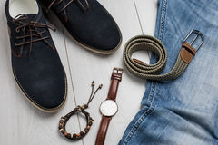 Male accessories overhead view Royalty Free Stock Photos