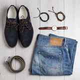 Male accessories overhead view Royalty Free Stock Photo