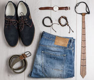 Male accessories overhead view Royalty Free Stock Image