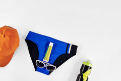 Male accessories for swimming. In pool isolated on white background Royalty Free Stock Photo
