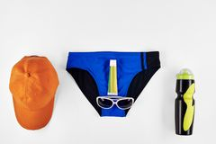 Male accessories for swimming. In pool isolated on white background Stock Photography