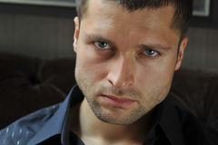 Male actor headshot. Showing action movie character Stock Image