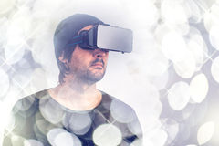 Male actor in virtual reality environment wearing vr goggles Stock Photography