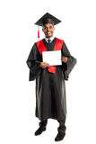 Male african american graduate in gown and cap Stock Photography