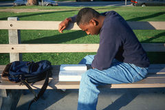 Male African American student studying. On a bench, Santa Monica, California Stock Image