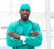 Male african American Surgeon with arms Folded royalty free stock image