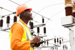 Male african electrical worker Stock Photos