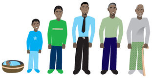 Male Age Progress 1. Male age progression, available for females and in different skin tones. Six different ages. Vector Illustration Stock Photos