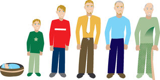Male Age Progress 2. Male age progression, available for females and in different skin tones. Six different ages. Vector Illustration Stock Images