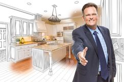Male Agent Reaching for Hand Shake in Kitchen Drawing and Photo. Smiling Male Agent Reaching for Hand Shake in Front of Kitchen Drawing and Photo Combination stock images