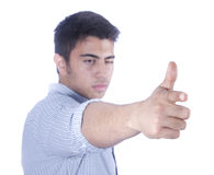 Aiming with hand. Male aiming his finger to cam stock image