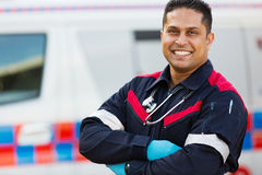 Male ambulance staff. Good looking male ambulance staff with arms crossed Stock Photography