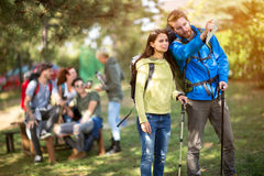 Free Male And Female Hiker In Wood Royalty Free Stock Images - 68232399