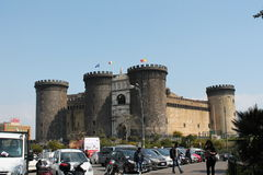 Male Angevin. Ancient and historic architecture of the castle of Naples headquarters of both tourism Stock Photos
