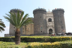 Male Angevin. Architecture old and historic castle of Naples home to much tourism stock photography