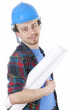 Male architect in blue hardhat with blueprint Royalty Free Stock Photo