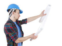 Male architect in blue hardhat with blueprint Royalty Free Stock Photography
