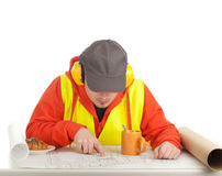 Male architect with blueprint Stock Images