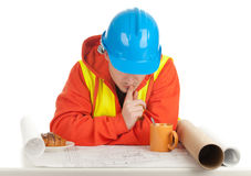 Male architect with blueprint Royalty Free Stock Photo