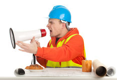 Male architect with blueprint and megaphone Royalty Free Stock Photos