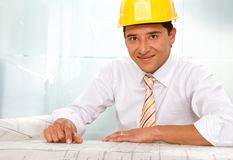 Male architect with blueprints Stock Image