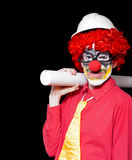 Male Architect Clown Holding Bad Construction Plan Stock Images