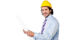 Male architect with construction plan Stock Photography