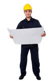 Male architect with construction plan Stock Images