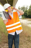 Male architect in construction site Stock Image