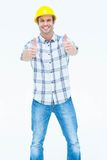 Male architect gesturing thumbs up sign Stock Photo
