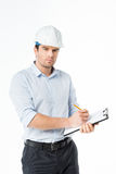 Male architect in hard hat Stock Images