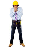 Male architect in a hard hat with toolkit Royalty Free Stock Photo
