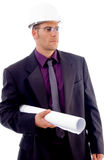 Male architect holding blueprints. On an isolated background Stock Photo