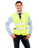 Male architect posing with hard hat Royalty Free Stock Image
