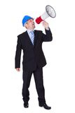 Male Architect Shouting In Megaphone Royalty Free Stock Images