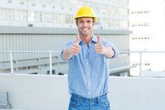 Male architect showing double thumbs up Royalty Free Stock Photos
