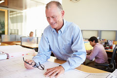 Male Architect Studying Plans In Office Stock Photo