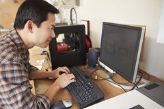 Male Architect Using 3D Printer In Office Royalty Free Stock Image