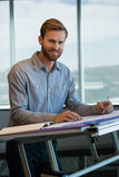 Male architect working in office. Portrait of male architect working in office Royalty Free Stock Photography