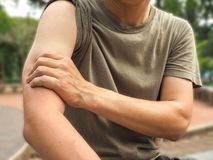 Male arm muscle pain or injury isolated , healthy concept.  royalty free stock photo