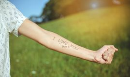 Male arm with text -I hate you- written in skin. Closeup of male arm with the text -I hate you- and word -love- crossed out in the skin over a sunny nature Stock Photography